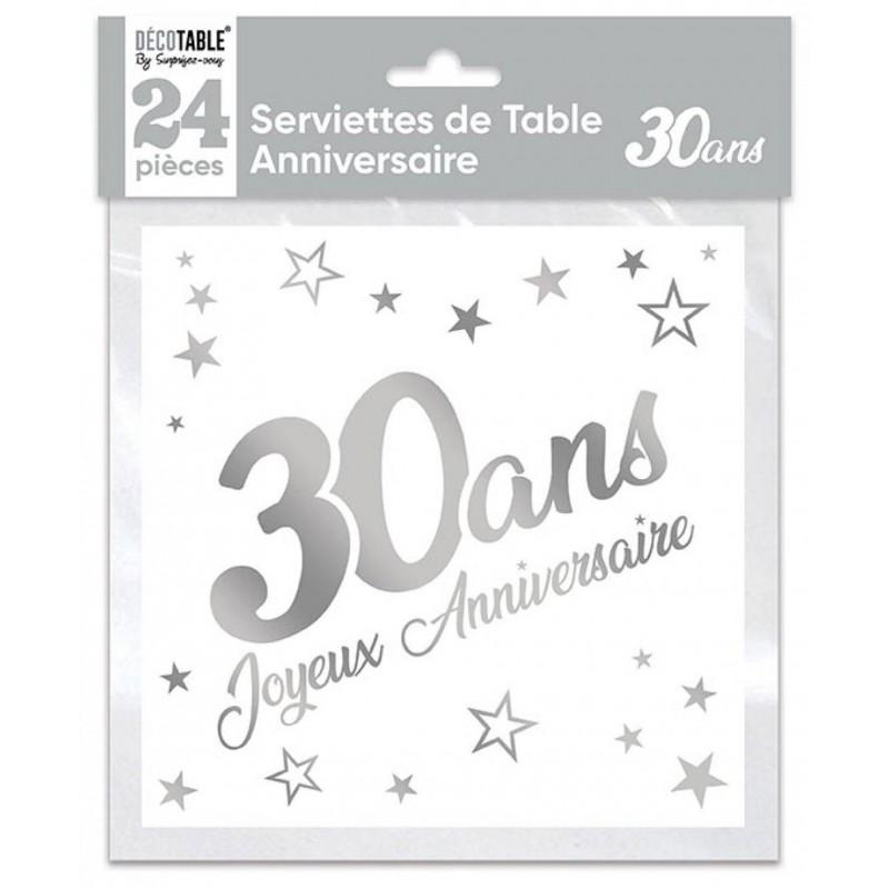 Serviettes en papier blanc/argent pour anniversaire 30 ans