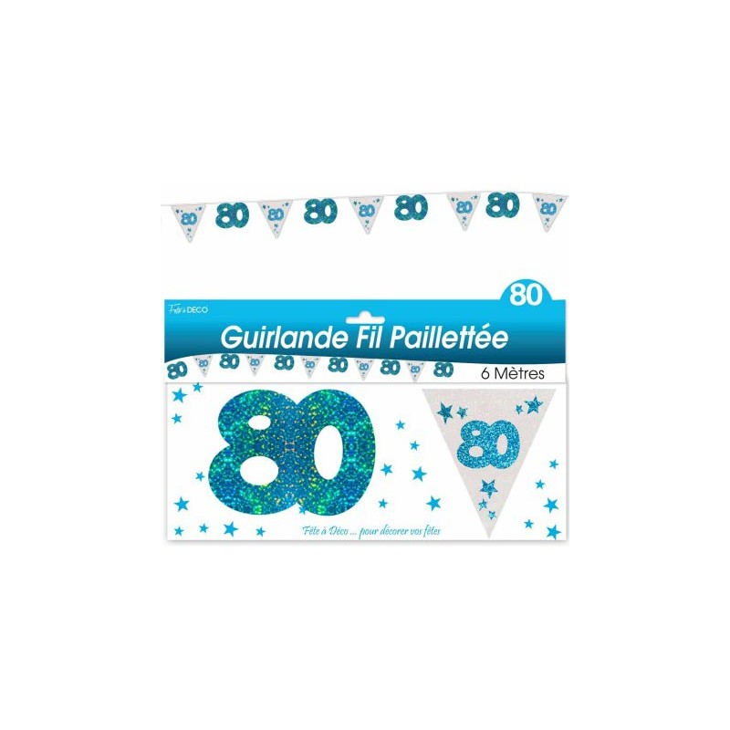 Guirlande d'anniversaire bleue pour les 80 ans