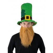 Chapeau Saint-Patrick trèfle avec barbe rousse