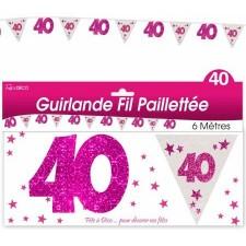 Guirlande 40 ans rose
