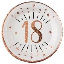 Assiettes en carton pour anniversaire 18 ans blanches et rose gold