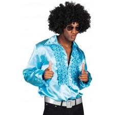 Déguisement composé d'une chemise disco bleue
