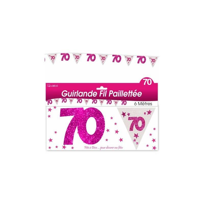 Guirlande pour anniversaire 70 ans rose de 6 mètres