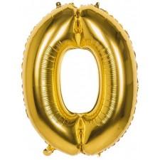 Ballon géant en forme de chiffre 0 couleur or