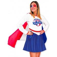 Costume tricolore de la super française bleu blanc rouge