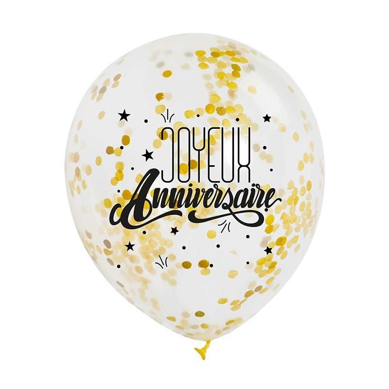 Ballon anniversaire avec confettis or