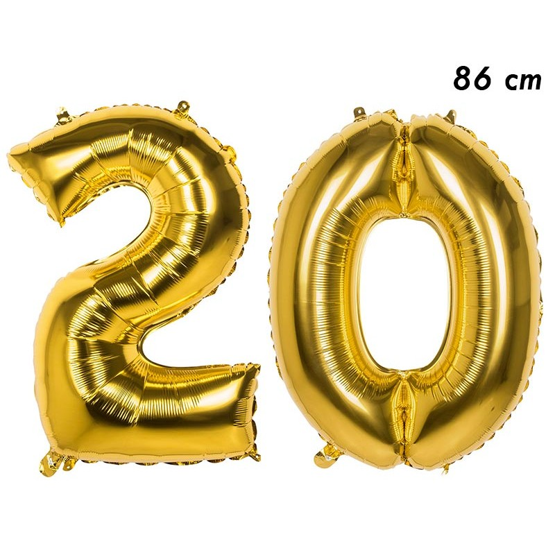 Ballon d'anniversaire 20 ans en forme de chiffres