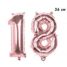 Ballons 18 ans en forme de chiffres de 36 cm rose gold