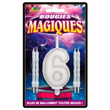 Bougie magique en forme de chiffre 6 pour anniversaire