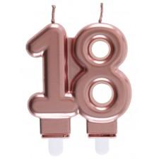 Bougie 18 ans rose gold pour gâteau d'anniversaire