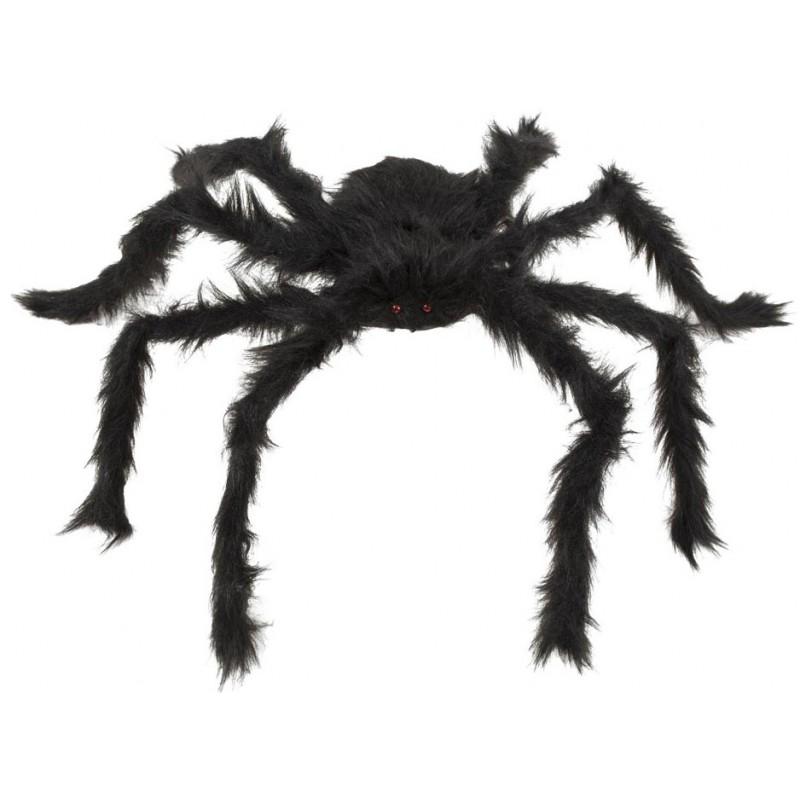 Araignée velue noire géante pour décoration d'Halloween