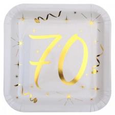 Assiettes en carton anniversaire 70 ans blanc et or