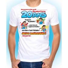 Tee-shirt anniversaire 20 ans pour homme à personnaliser