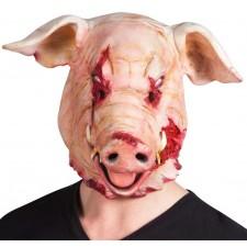 Masque de cochon zombie avec la tête coupée en latex pour Halloween