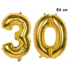 Ballons géants en forme d'âge 30 ans couleur or de 86 cm pour anniversaire