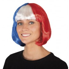 Perruque bleu blanc rouge supporter femme