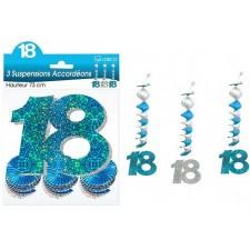 Décorations 18 ans anniversaire bleues et argent