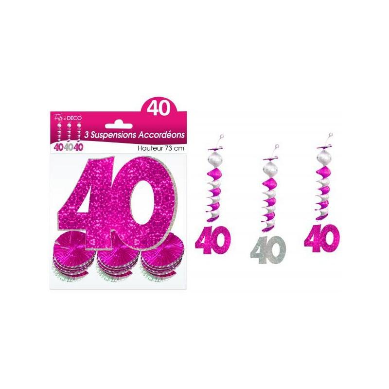 Guirlandes 40 ans roses accordéons