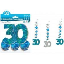 Guirlande anniversaire 30 ans bleue à suspendre