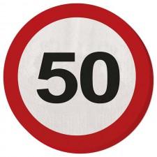 Serviettes rondes 50 ans pour anniversaire