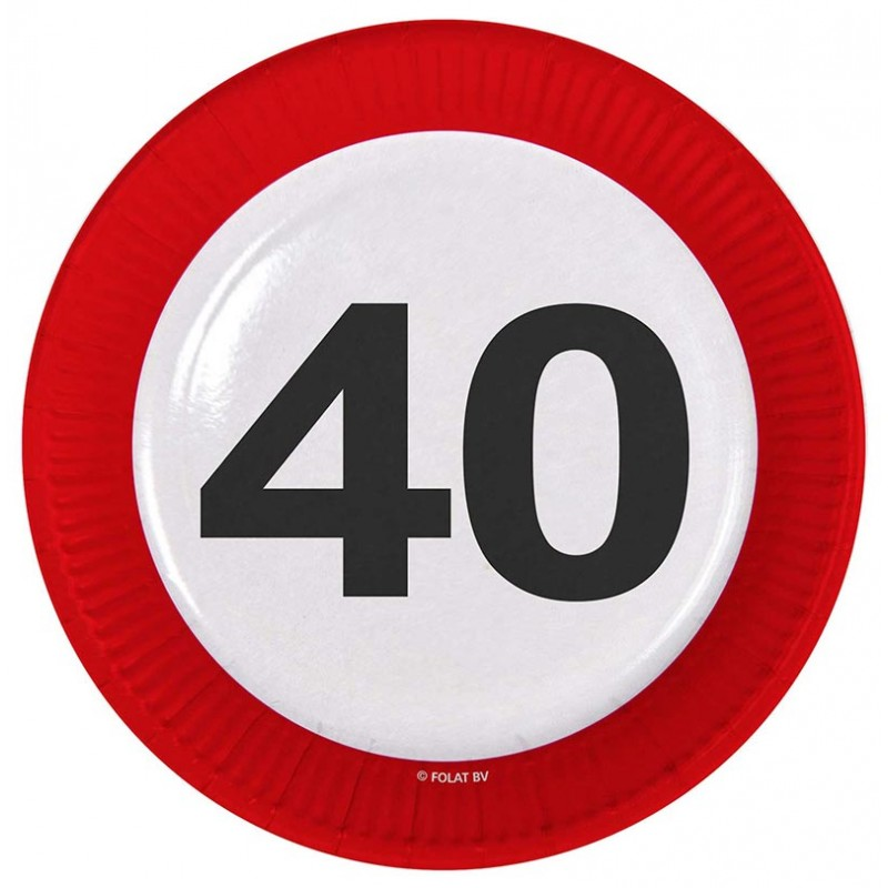 Assiettes rondes pour anniversaire 40 ans