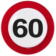 Assiettes panneau de signalisation 60 ans pour anniversaire