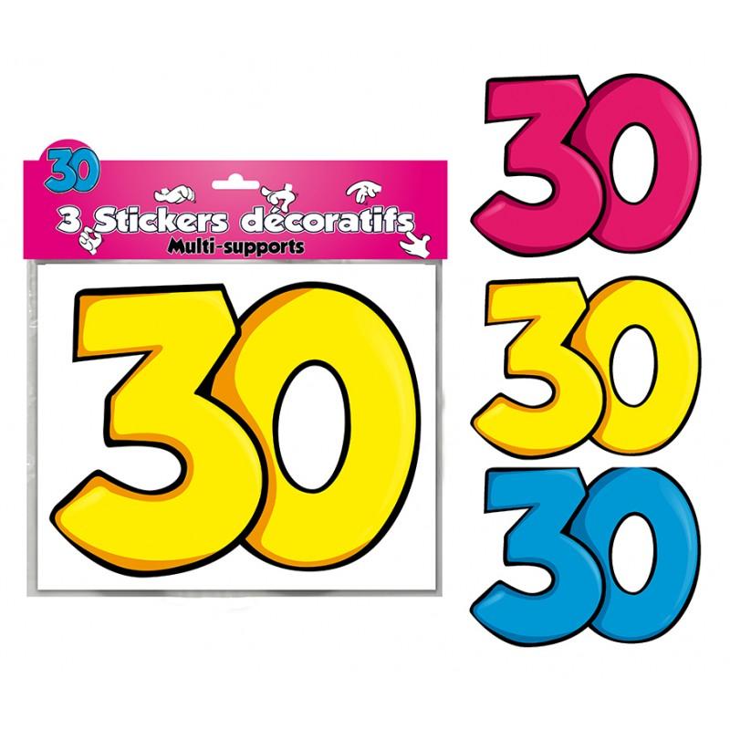 Déco stickers anniversaire 30 ans