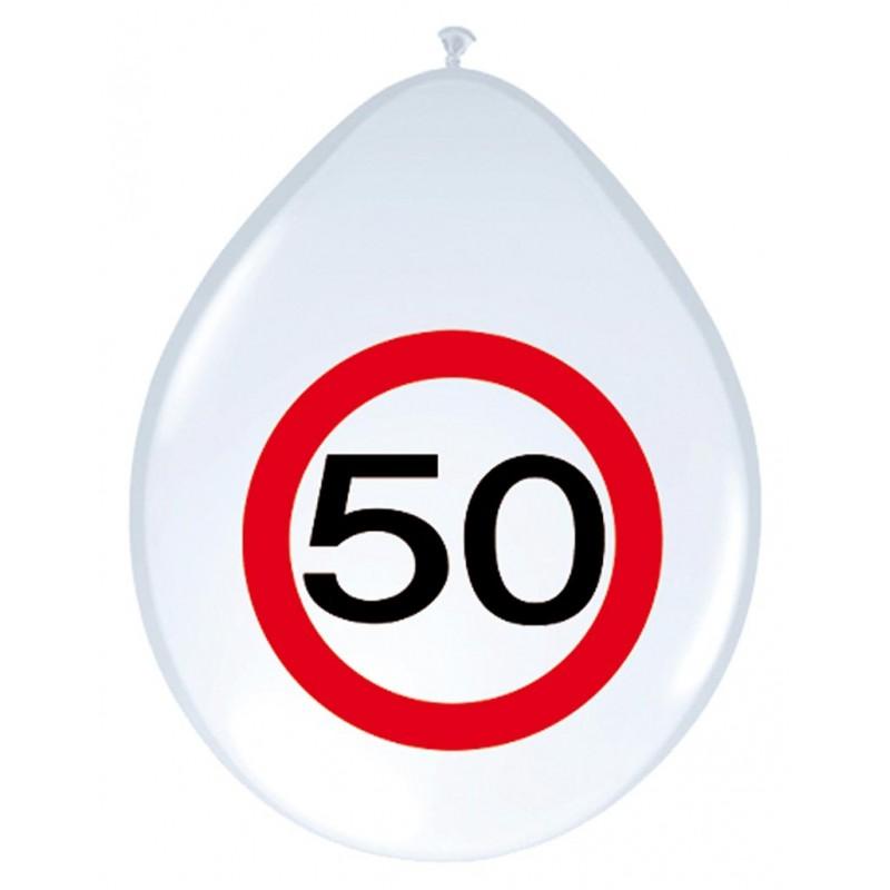 Ballons 50 ans panneau de signalisation anniversaire