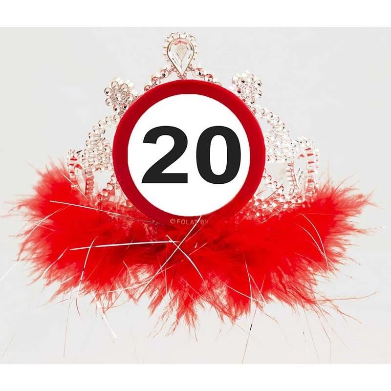 Diadème rouge argent 20 ans anniversaire