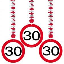 Lot de 3 suspensions 30 ans rouges et blanches