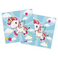 Serviettes de table en papier licorne