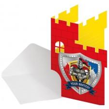 Cartons d'invitation avec enveloppes anniversaire enfant thème chevalier