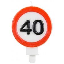 Bougie panneau de signalisation 40 ans pour anniversaire