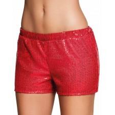 Short disco rouge sequins pour femme