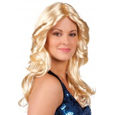 Perruque disco longue blonde ondulée