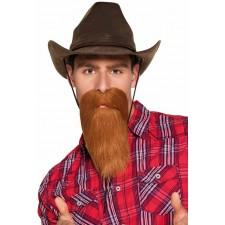 Fausse barbe marron de cowboy
