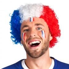 Perruque de supporter France bleu blanc rouge frisée pas cher