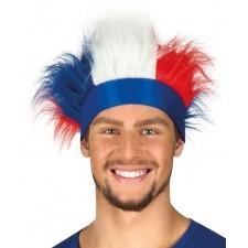Bandeau de supporter France avec cheveux bleu blanc rouge
