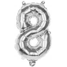 Ballon mylar chiffre 8 argent