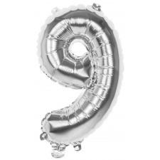 Ballons forme chiffre 9 argent