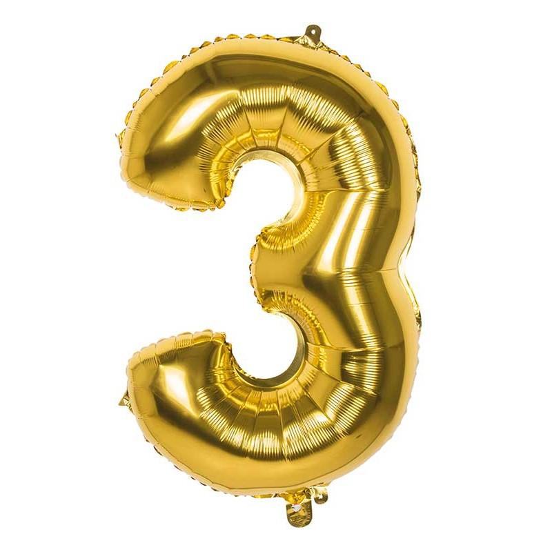 Ballon en forme de chiffre 3 couleur or