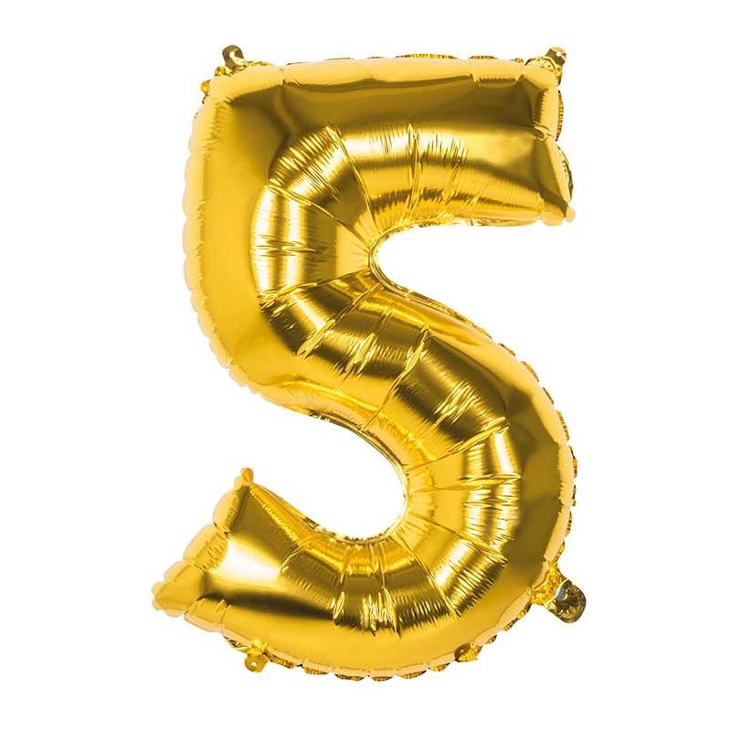 Ballon en forme de chiffre 5 or