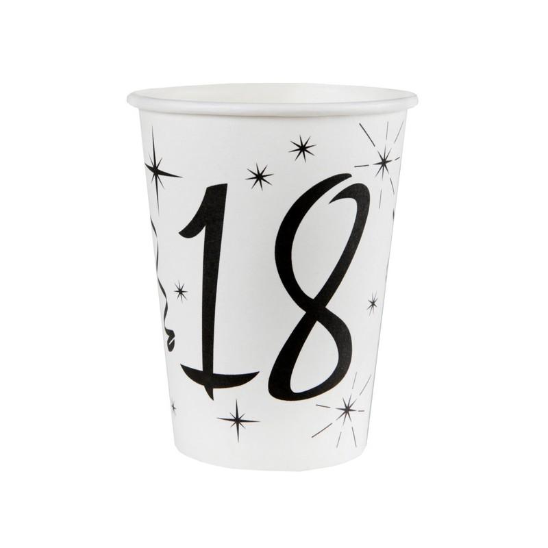 Gobelets d'anniversaire 18 ans en carton