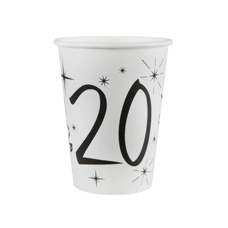 Gobelets pour anniversaire 20 ans blancs et noirs
