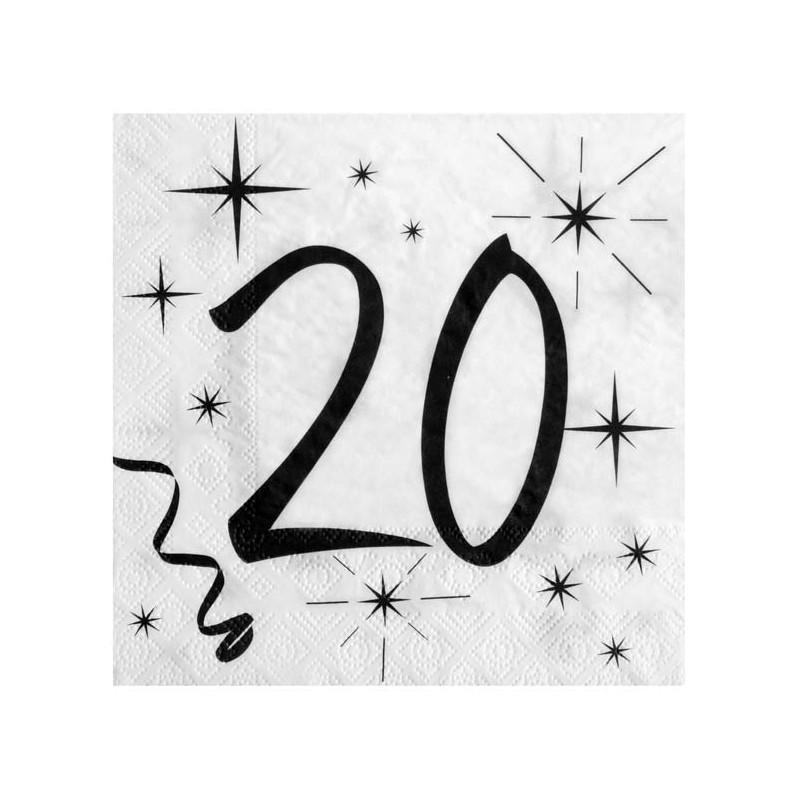 Serviettes de table 20 ans anniversaire