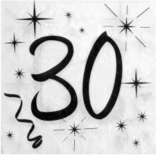 Serviettes anniversaire 30 ans blanches et noires