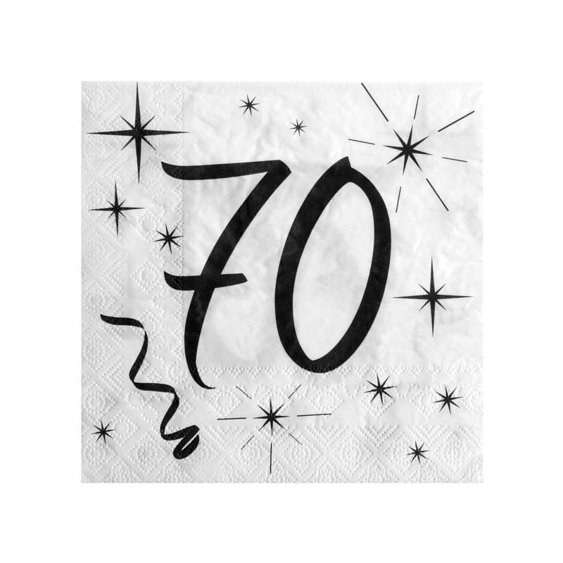 Serviettes anniversaire blanches pour les 70 ans