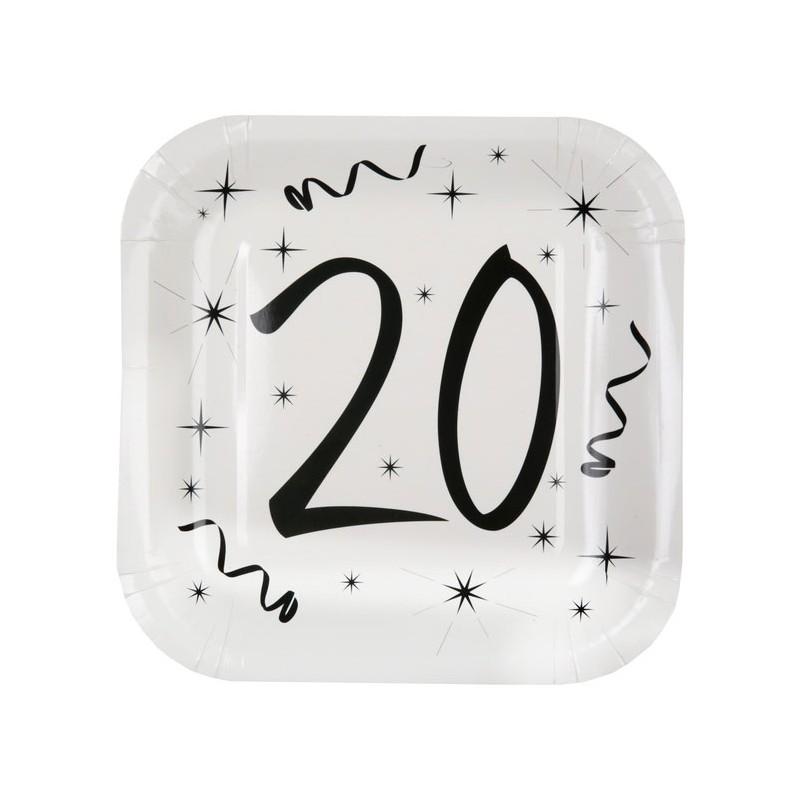 Assiettes d'anniversaire 20 ans carrées