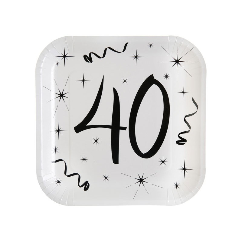 Assiettes carton pour anniversaire 40 ans