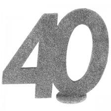 Décoration argent pour table d'anniversaire 40 ans